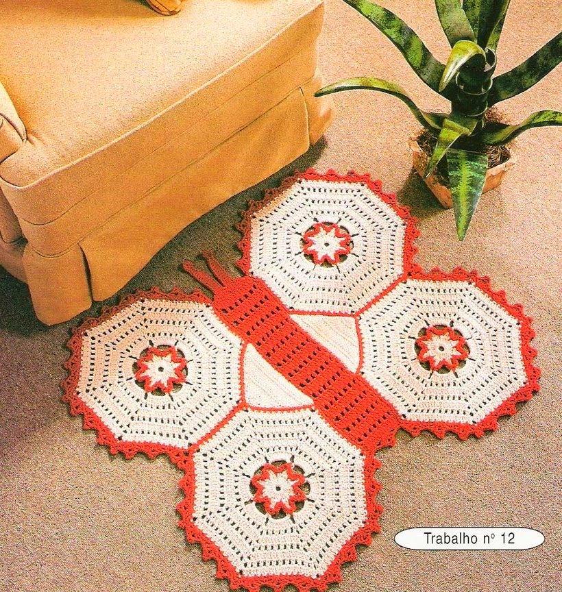 Arte Facil Tapete Redondo : Tapete borboleta em crochet com gr?fico