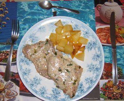 Filetes de ternera blanca al estragón / Escalopes de veau à l'estragon