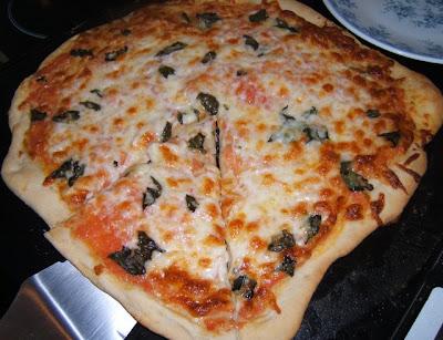 Pizza margherita fine avec levain liquide