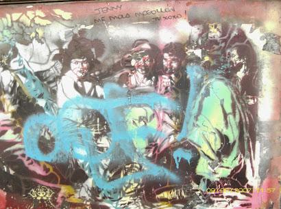 Stencil de la comida de Baco con los mendigos/ 6lex writer