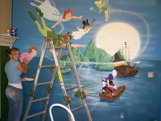 Angela working on our Peter Pan mural