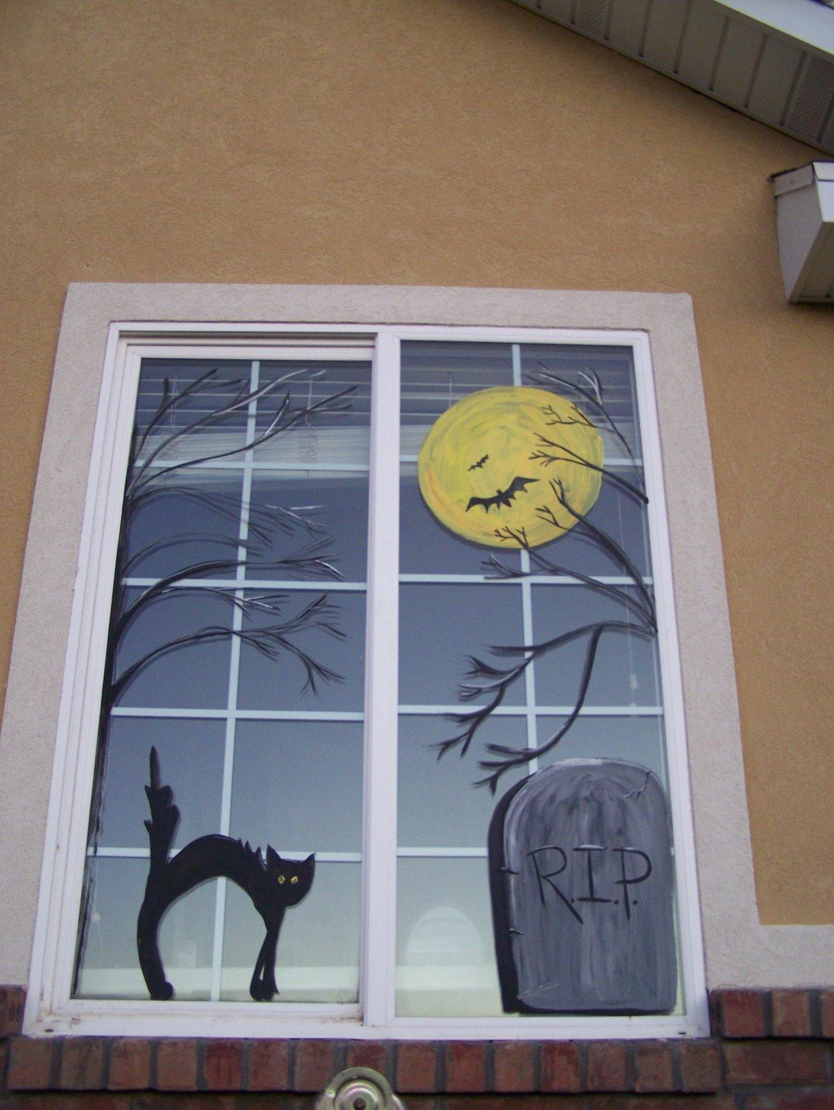 Painted Halloween windows