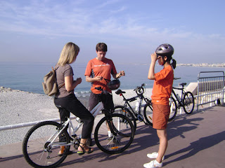 setting off from the Prom on the bike tour, August 2008