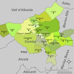 """Mapa de """"El Comtat"""""""