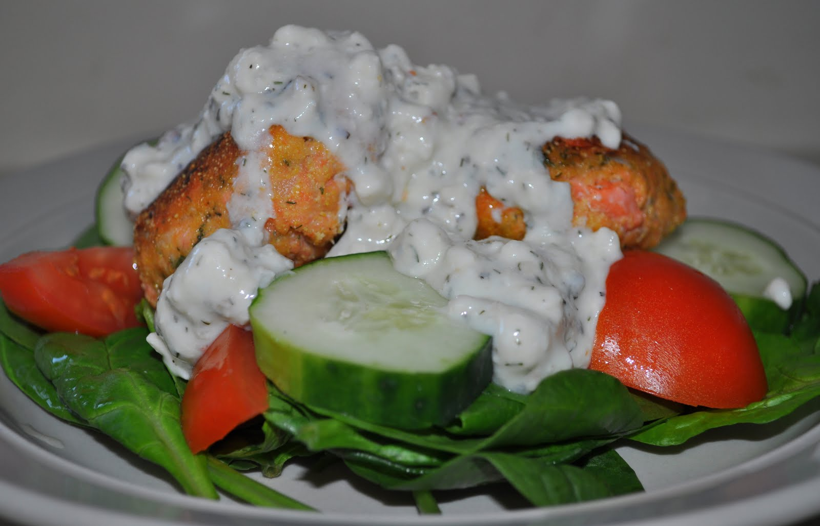 3 Gals and a Kitchen: Summer Salmon Cakes w/ Feta Dressing ...