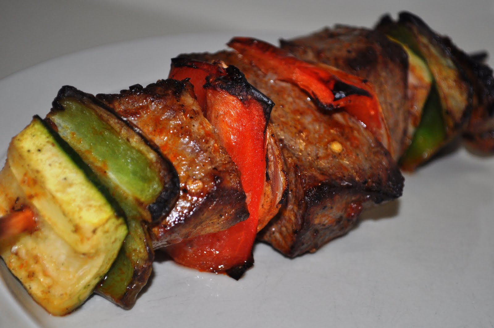 Gals and a Kitchen: Bourbon London Broil Kebabs