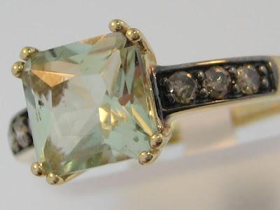 Cognac Diamond Engagement Ring Baguette Vintage Simple