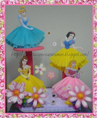 Princesas Disney. Invitaciones - Lamparas de Centros de Mesa - Piñata