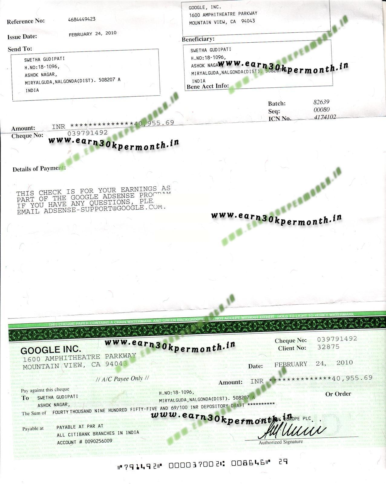 Original Scan Adsense Adbrite Cheques Proof
