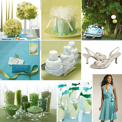 The Knot has declared that chartreuse and aqua is a'hot new color combo'