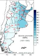 Mapa de Lluvias promedio, correspondientes al mes de Abril en la República . precip
