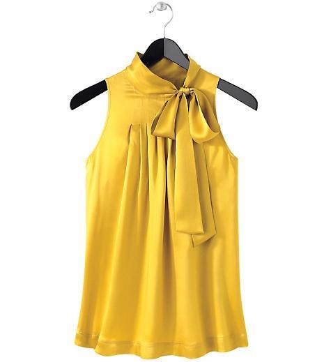 Yellow Silk Charmeuse Blouse 76