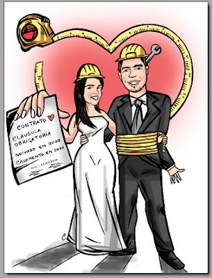 caricatura com contrato de namoro