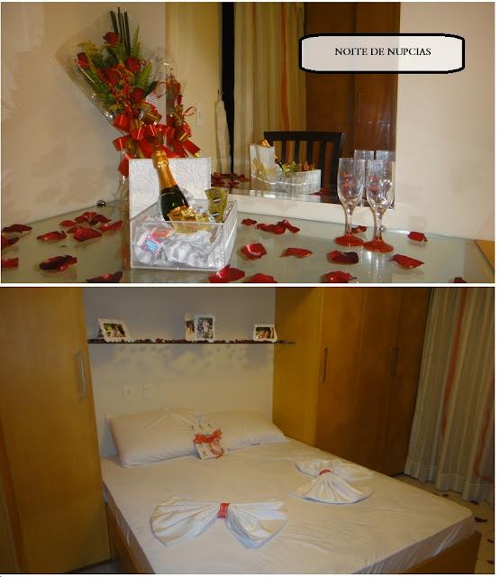 quarto decorado para noite romântica