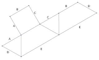 Tetraedro seccionado y desplegado
