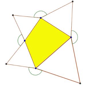Un cuadrilátero con triángulos