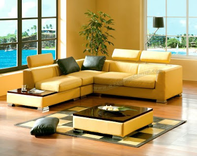 Contemporary Furniture Yellow Leather Sectional Sofa with a Mahogany Tray and a Coffee Table