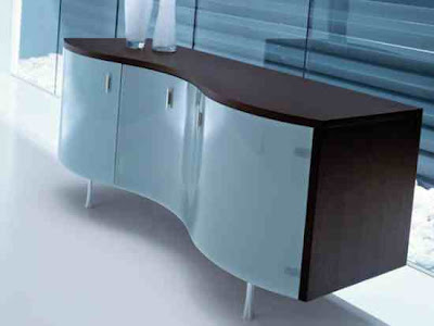 Buffet Wenge Houston Contemporary Curved Sideboard Furniture
