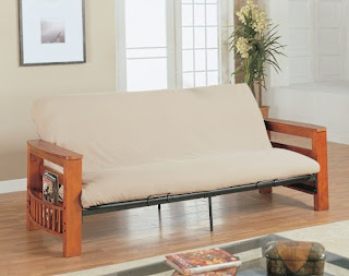 Modern Furniture - Living Room Furniture - Futons With Mattresses - Wood Futon Frame With Khaki Futon Mattress