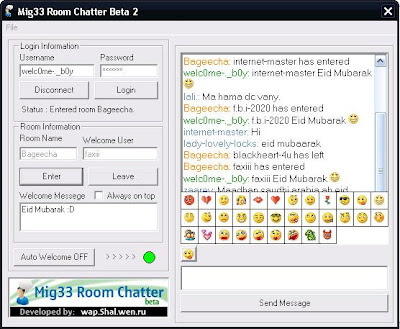 Mig33 auto welcome+Room chatter beta