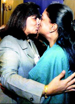 Kiran Mazumdar Shaw in lip-lock with Vasundhara Raje