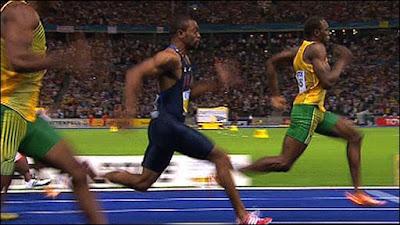 Usain Bolt clocking 9.58 seconds at the IAAF Championships, Berlin