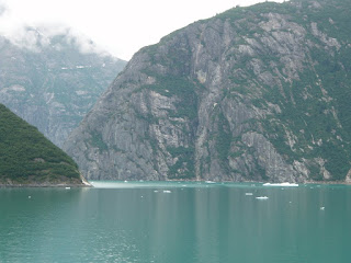 view of glacier from Volendam Holland America cruise ship