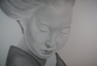 Geisha Graphite Pencil Charcoal Portrait
