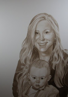 Mother and Child Watercolor Portrait Commission