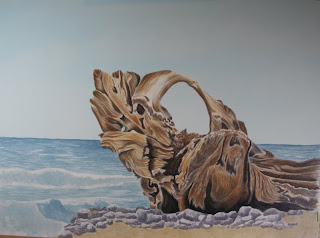 Watercolor Seascape Driftwood Painting