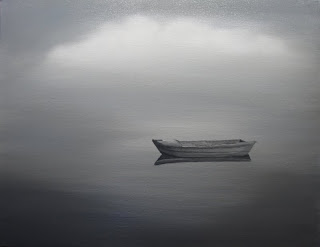 Seascape Oil Painting of Boat on Water