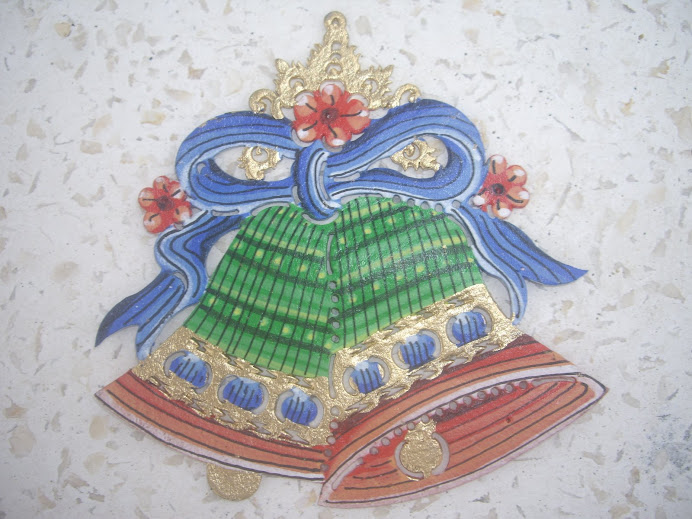 TWO CHRISTMAS BELLS HANGING ORNAMENT, HANDCRAFTED IN BALI, WAYANG-KULIT LEATHER AND CUTWORK STYLE