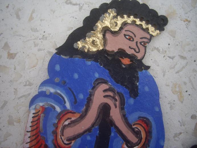 MAGICAL NATIVITY SCENE--THE BIRTH OF JESUS.  HANDMADE AND HAND-PAINTED IN BALI, WAYANG KULIT STYLE
