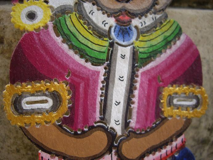 TEDDY SANTA BEAR, HANDCRAFTED IN BALI, WAYANG-KULIT-STYLE, HANGING CHRISTMAS ORNAMENT