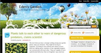 Eden's Garden, plantilla blogger gratis
