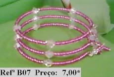 Refª B07 NOVO PREÇO: 5,00 Pulseira com facetes rosa e cristais swarovski brancos