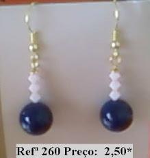 Refª 260 NOVO PREÇO: 2,00* Brinco curto  com bola azul e cristais swarovski rosa