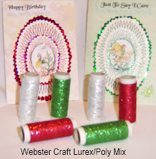 NEW and only from Webster Craft. Lurex/Poly mix thread