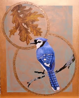 Blue Jay painting brass ring