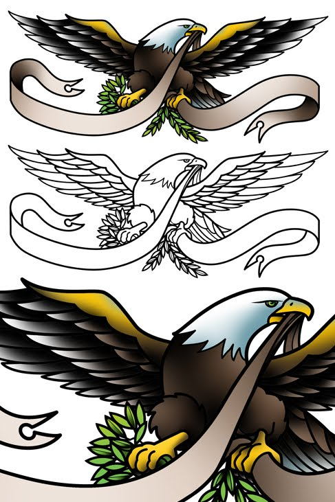 I designed this sailor Jerry style eagle tattoo flash for Werner De Smedt