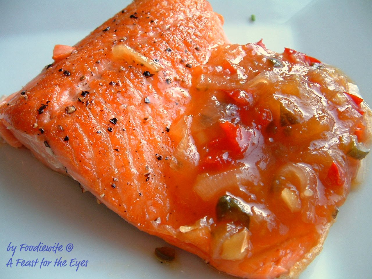 A Feast for the Eyes: Peach Chutney & Steelhead Trout