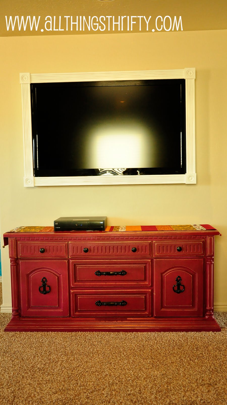 Cover up ugly LCD TV brackets   All Things Thrifty