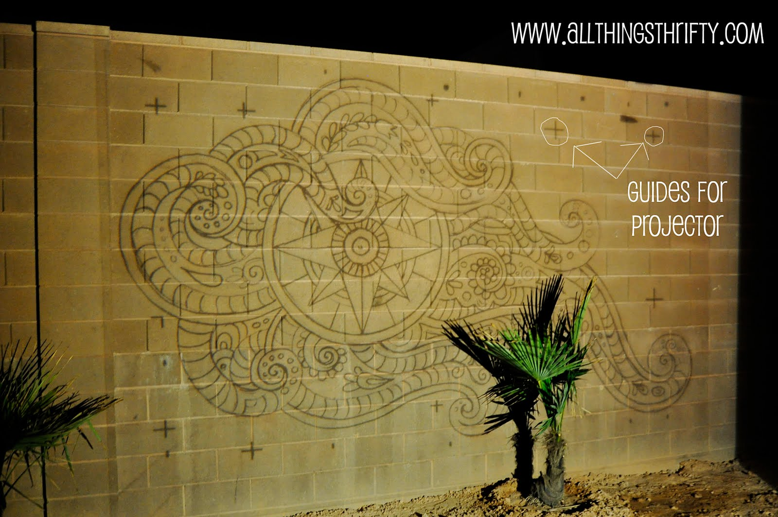 Dress up your backyard fence blockwall for less than for Best projector for mural painting