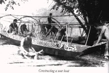 The Iban Constructing A War Longboat