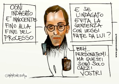 Processo giustizia Berlsuconi innocente fino a prova contraria Gava satira vignette