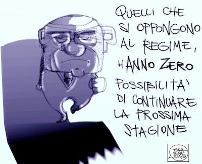 Anno Zero Berlusconi dictat Gava satira vignette
