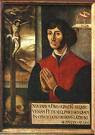 Copernicus praying before the crucifix