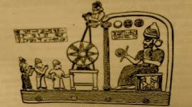 Babilonski bog slonce na krolewskim tronie