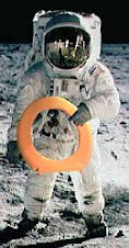 Astronaut on the Moon with Toilet Seat