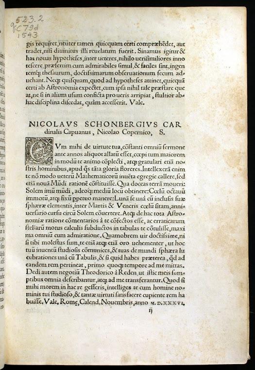 Przedmowa kardynala Nicolasa Schoenberga do De revolutionibus